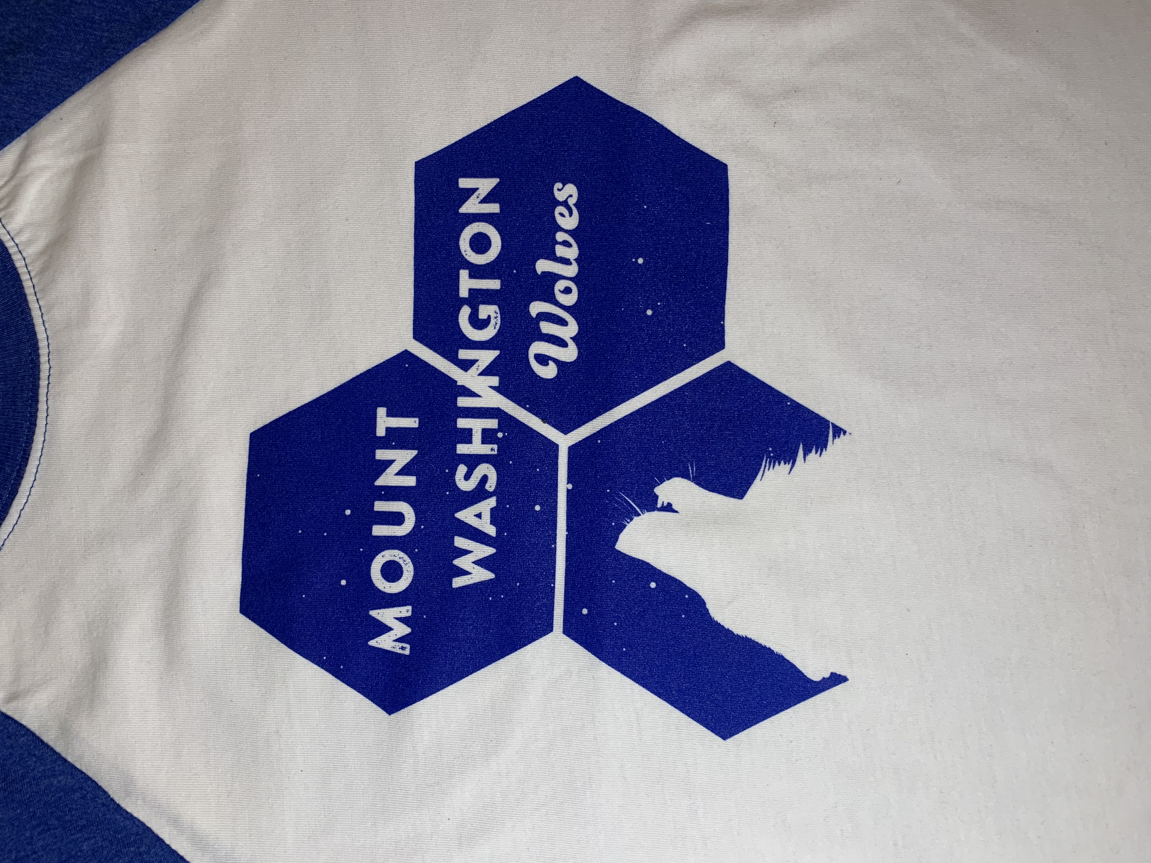 Youth Baseball Tee - White/Royal Blue Howling Wolf Hex