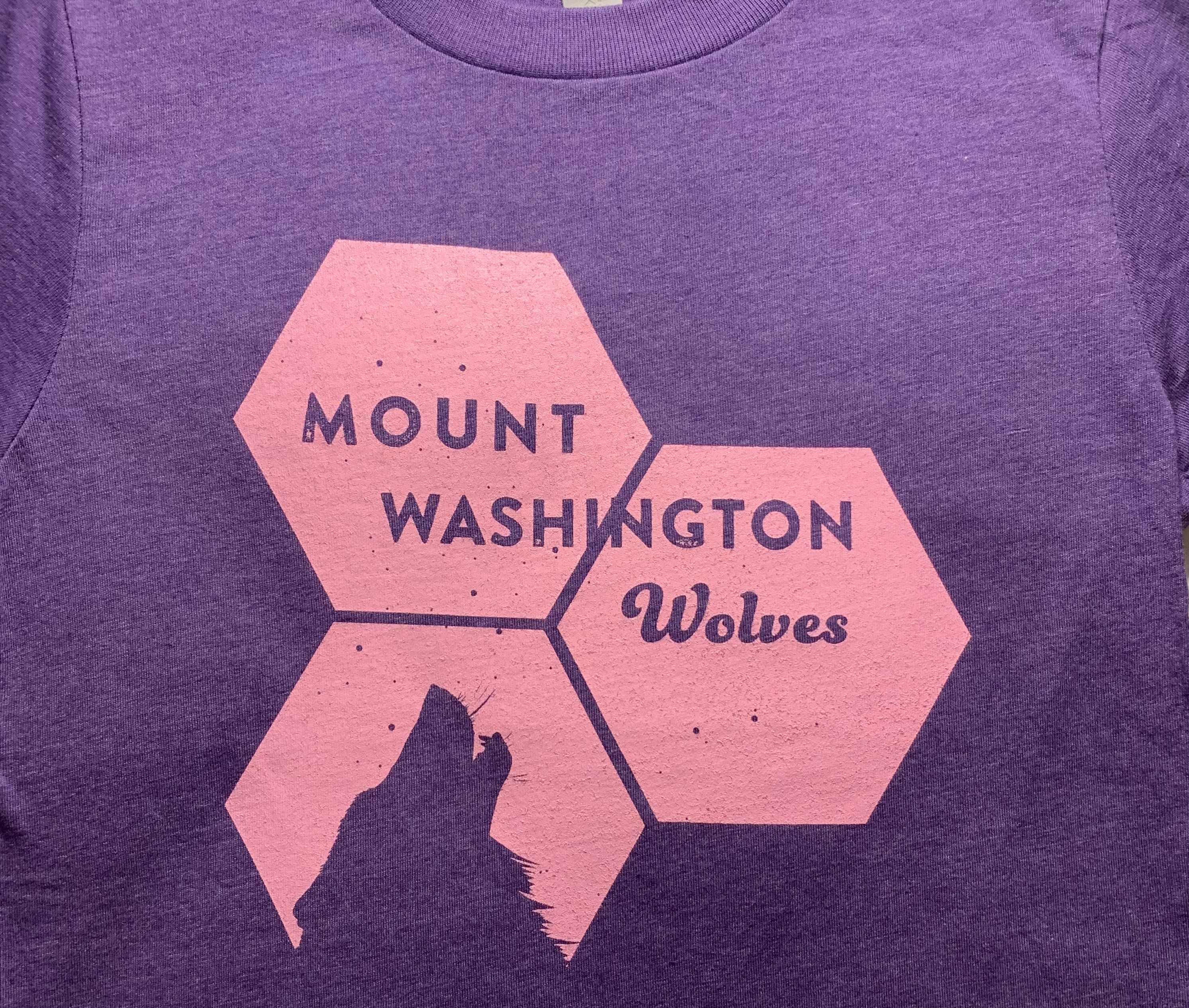 Youth Crewneck Tee - Purple Rush/Pink Hex Howling Wolf