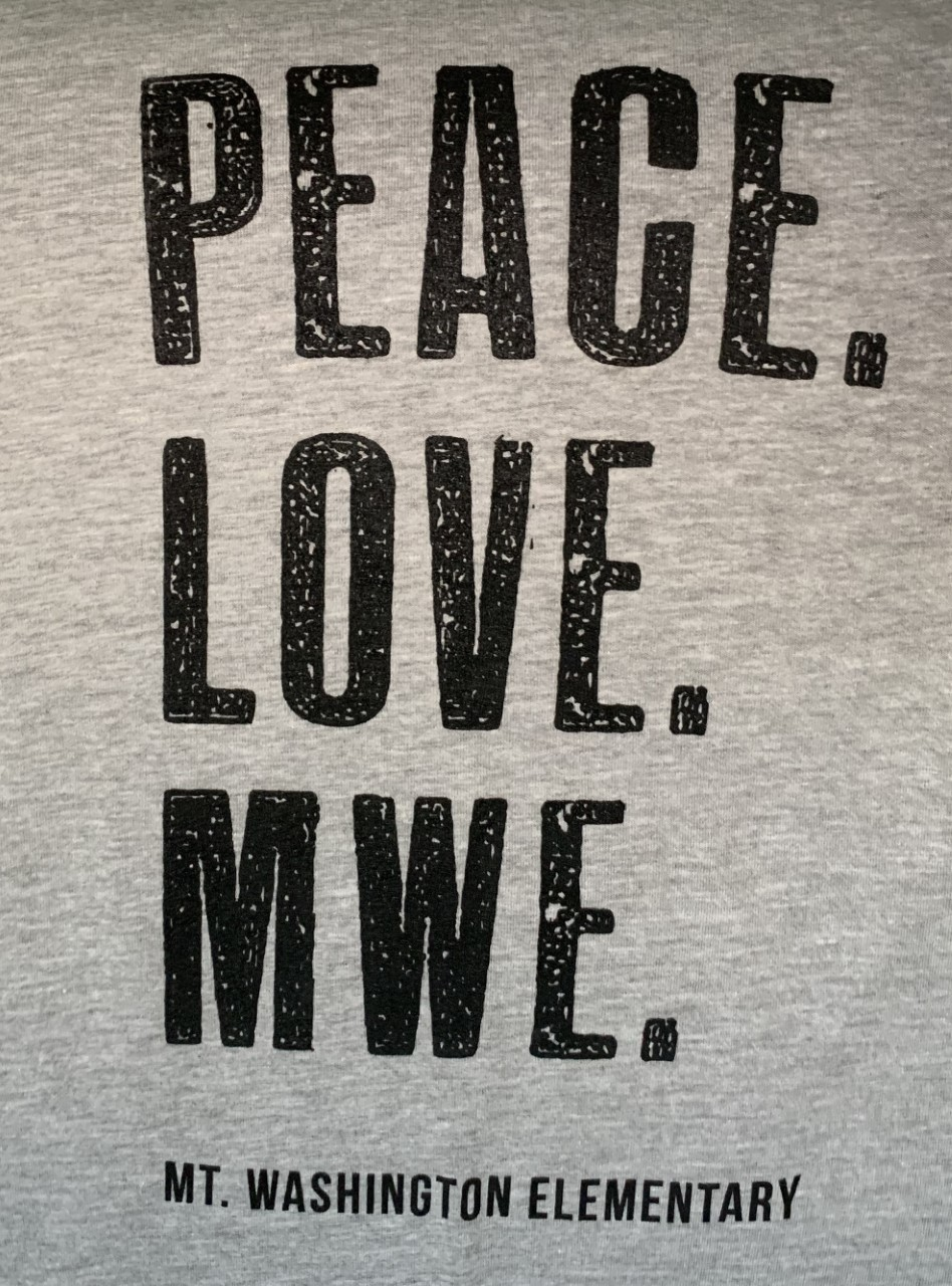 Adult Crewneck Tee - Slate/Black Peace. Love. MWE.