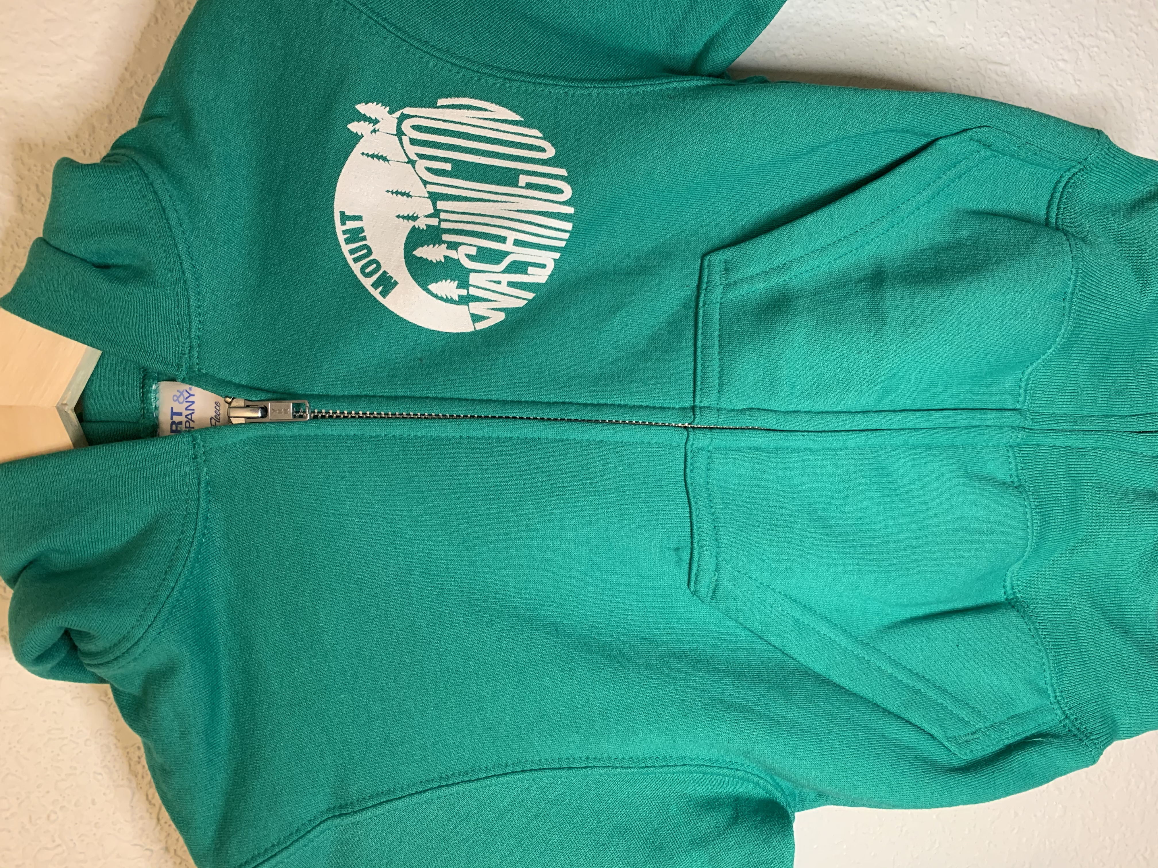 Youth Hooded Zip Sweatshirt - Kelly/White Vintage Logo